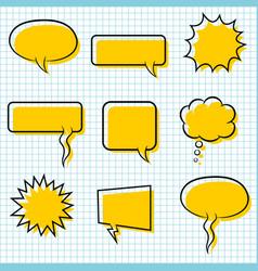 Set bubble speech on paper background vector