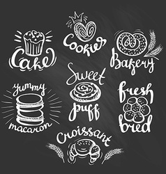 Set of bakery label on the chalkboard Bakery logo vector image