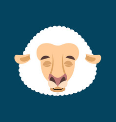 sheep sleeping emotion avatar face ewe asleep vector image