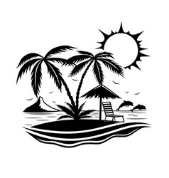 Sign of a tropical beach with palm trees vector