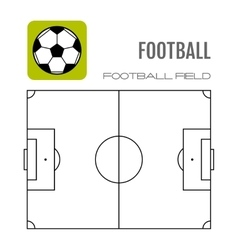 Soccer field with flat icon ball football vector image