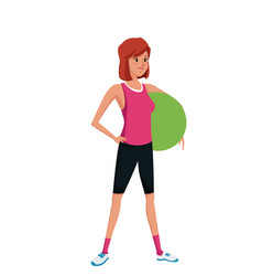 Sport girl holding fitball exercise training vector
