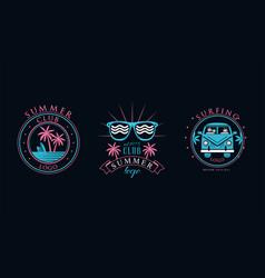 summer club logo original design set surfing club vector image
