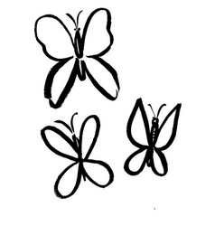 Three butterflies of black color vector