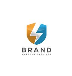 Thunder shield logo vector
