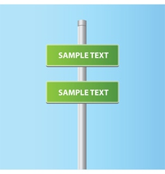 Two green road plates signs vector