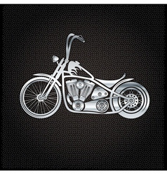 Vintage silver motorcycle on metal background vector