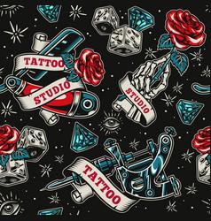 vintage tattoo salon seamless pattern vector image