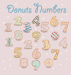 white chocolate donuts numbers vector image