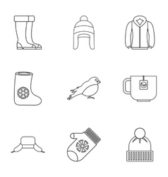 Winter frost icons set outline style vector