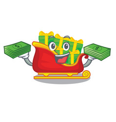 With money santa sleigh with christmas character vector