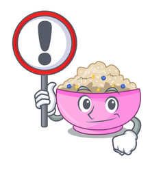 with sign character a bowl of oatmeal porridge vector image