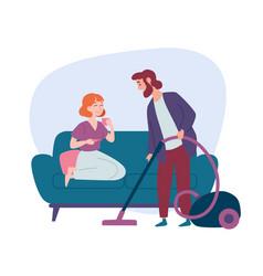woman sitting on sofa man vacuuming floor vector image
