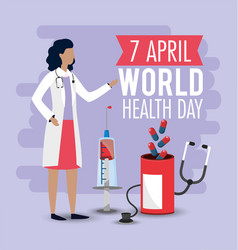 World health day with woman doctor and pills vector