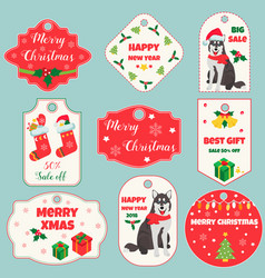 set of holiday tags with christmas decoration vector image vector image