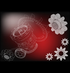 gear mechanism on red vector image vector image