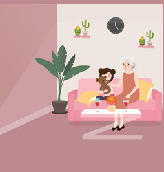 grandma with her grand daughter sitting in sofa vector image vector image
