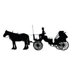 Horse and buggy vector