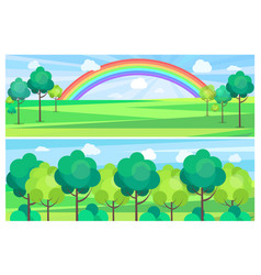 picturesque scenery landscape with color rainbow vector image vector image