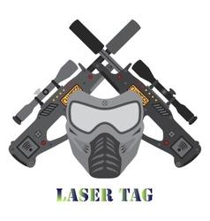 Set of laser tag game helmet guns in flat style vector