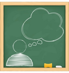 symbol of human with speech bubble on blackboard vector image vector image