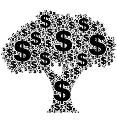 Tree made of dollar signs vector image vector image