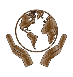 Hands holding planet earth icon image vector
