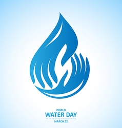 Water drop in Hand Logo design for World Water Day vector image