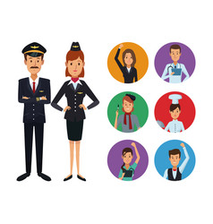 white background with full body couple pilot and vector image