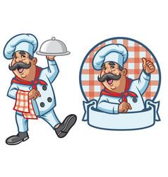 cartoon set of happy chef vector image