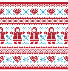 Christmas Winter knitted pattern card vector image