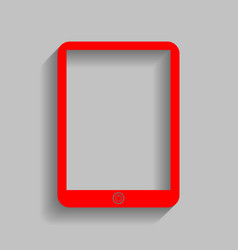 computer tablet sign red icon with soft vector image vector image