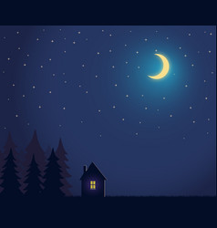 house and tree and night sky with stars and moon vector image vector image