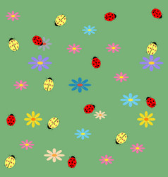 ladybug and flower seamless pattern vector image