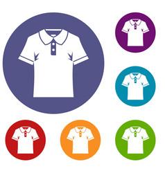 men polo shirt icons set vector image vector image