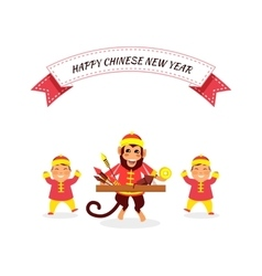 New Year Background with Monkey vector image vector image