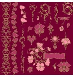 ornate floral elements vector image vector image