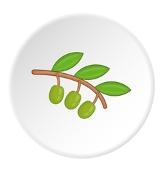 Sprig of olive icon cartoon style vector