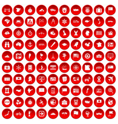 100 cartography icons set red vector