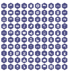 100 europe countries icons hexagon purple vector image