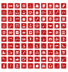 100 hi-school icons set grunge red vector image