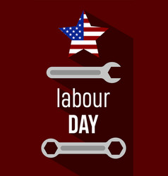 American labour days banner with wrench and usa vector