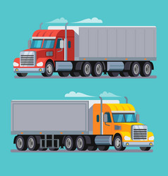 American truck trailer cargo transport vector