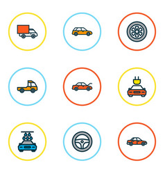 auto icons colored line set with wheel station vector image