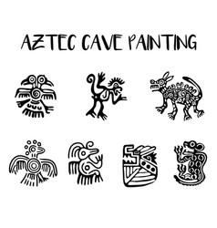 Aztec cave painting elements set vector