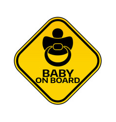 Baby on board sign with child nipple silhouette in vector