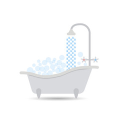 bath with water and filled with foam with bubbles vector image
