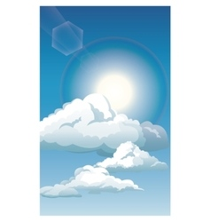 Blue sky clouds sun shinign vector
