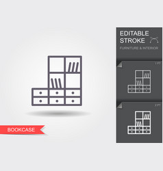 bookcase line icon with editable stroke with vector image