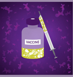 bottle and syringe with vaccine on violet vector image